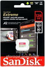SanDisk Extreme 128 GB micro SDXC 160MBs U3 V30 Class 10 Card 128G 4K UHD UHS A2