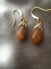 vintage tear drop agate bead earrings