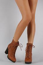 New Women Vegan Suede Corset Lace Up PeepToe Chunky High Heel Ankle Booties Boot