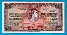 Bermuda P18a 5 shillinga QEII & Braccia 1st data segno DAVIDSON/Kempe 20.10.1952 XF +
