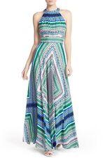 Eliza J Scarf Print Crêpe de Chine Fit & Flare Maxi Dress  ,Sz 10 , New, $158