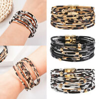 Women Multi-layer Leopard Chain Leather Wrap Bracelet Charm Bangle Jewelry Gift