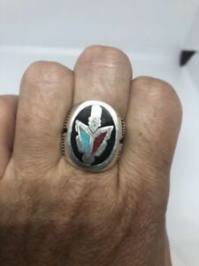 1980's Vintage Silver Size 9 Men's Genuine Turquoise Inlay Arrow Ring