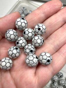 Sports Beads Soccer Beads 10mm Lightweight Acrylic Beads Black White 30 pcs