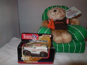 1992 cleveland browns matchbox  car and  arm chair quarterback bear
