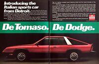 1980 Dodge De Tomaso Omni 024 Sport Coupe photo Detroit Italian 2-page print ad