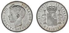 5 Silver Pesetas/5 Pesetas Silver Duro. Madrid Alfonso XIII 1897. XF/XF