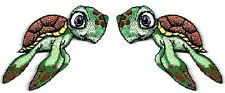 Sea Turtle -  Green Sea Turtle - Embroidered Iron On Applique Patch - Set Of 2