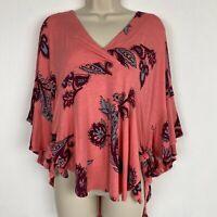 Free People NWOT XS Coral Floral Print Kimono Tie Waist Blouse