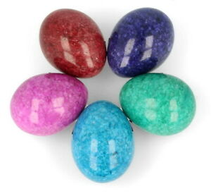 """3"""" Genuine Himalayan Marble Coloured Crystal Eggs With Stand Easter Set of 5"""