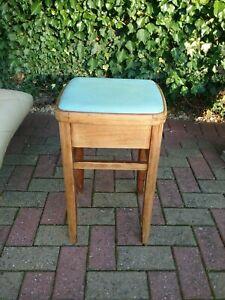 Vintage Retro Wooden kitchen stool light Blue seat top and storage