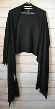 Isabel Benenato Waterfall Kimono Cardigan Wrap  Size Medium Black Cashmere Silk