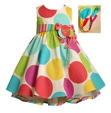 Bonnie Jean Toddler Girls Multi-Color Polka Dot Birthday Balloon Party Dress 3T