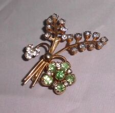 VTG Rare Gold Tone CORO Signed Clear & Green Flower Brooch Pin