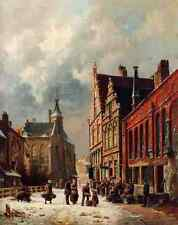 Eversen Adrianus A View In A Town In Winter A4 Print