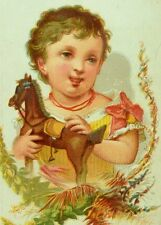 1870's-80's Lovely Girl With Toy Horse Floral Leaf Border Victorian Card F78