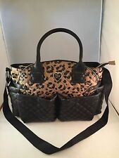 Betsey Johnson Downtown Diamond Quilt Diaper Bag Weekender Leopard EUC