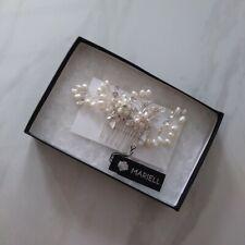 Mariell Freshwater Pearl Wedding Hair Comb, Silver Bridal Crystal Headpiece