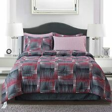 Brown & Grey Shadow Box Red Bed-in-Bag Set, Twin