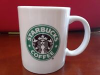 Starbucks 8 oz Coffee And Tea Mug White With Green Mermaid Logo On Both Sides