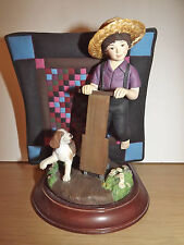 Amish Heritage Boy Figurine Quilt Dog