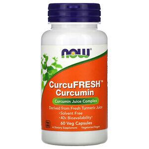 Now Foods CurcuFresh Curcumin 60 Veggie Caps GMP Quality Assured, Vegan,