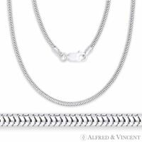 .925 Italy Sterling Silver 1.9mm Textured Snake Link Italian Flex-Chain Necklace