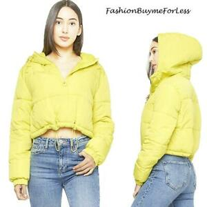 Women Ski Sports Quilted Neon Yellow Cropped Hoodie Puffer Jacket Top Outerwear