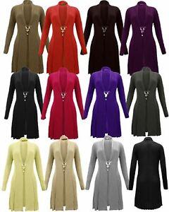 Ladies Women Knitted Boyfriend Cardigan Waterfall Brooch Top Jumper Dress 8-14