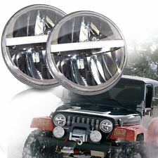 "2x 7"" 7Inch White DRL Round Led Headlight Turn Light&Hi/Lo Beam Fit Jeep WEISIJI"