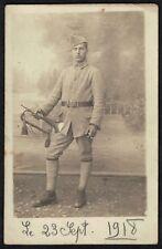 Cpa Carte Photo Guerre Militaire Clairon du 115e RI Infanterie de Mamers
