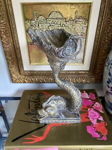Vintage Maitland Smith Bronze Koi Dolphin Fish Pedestal Dish Bowl Chinoiserie