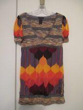 Custo Barcelona Orange Multi-Color Print Short Sleeve Blouse - Medium