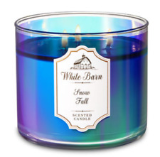 NEW Bath & Body Works SNOW FALL Scented Large 3-Wick Candle White Barn 14.5 oz