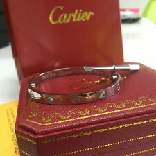 New 18K White Gold Love Bracelet 4 Diamonds Size 16