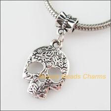 3 New Charms Halloween Skull Tibetan Silver Tone Bail Beads Fit Bracelet 16x35mm
