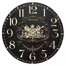 Clocks Country Vintage Inspired Wall BLACK COAT OF ARMS Clock 60cm New