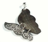 "925 STERLING SILVER SCROLLS ABALONE BUTTERFLY 1 7/8"" x 1 1/4"" PENDANT"