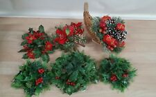 Holly plastic Christmas decorations vintage