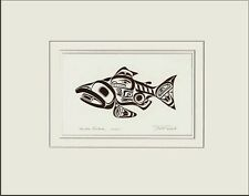 Haida artist BILL REID Embossed COPPER SALMON SKAAGI matted art print
