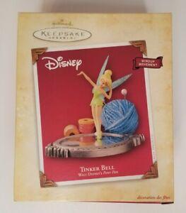 """2004 Hallmark Keepsake Ornament Disney's """"Tinker Bell"""" w/ Wind Up Movement NIB"""