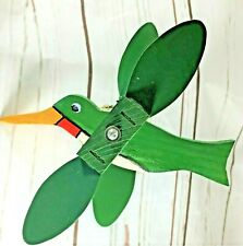 Hand Crafted Wood GREEN Bird Whirligig Outdoor Hanging Moving Wings, Yard Decor