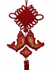 Feng Shui Chinese New Year Charm - Double Fish with Mystic Knot