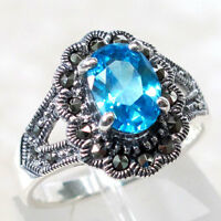 WONDERFUL MARCASITE 3 CT BLUE TOPAZ 925 STERLING SILVER RING SIZE 5-10