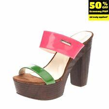 RRP €110 PIERRE CARDIN Mule Clog Sandals EU 36 UK 3 US 6 Heel Platform Varnished