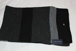 Tommy Hilfiger Men's Acrylic Grey Black Signature Logo Knit Scarf $55