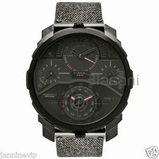 Diesel Original Men's DZ7358 Machinus Black Denim Strap Chrono Watch 55mm