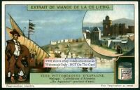 Spain Malaga Harbor Cathedral Almereia c1917 Trade Ad Card