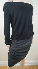 JAY AHR Women's Black Silk Blend Cowl Neck Long Sleeve Leather Skirt Dress Sz:L
