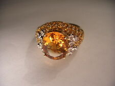 Magnificent Estate 14K Yellow Gold Huge Orange Citrine Diamond Designer Ring